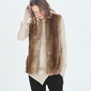 ZARA Trafaluc Outwear Faux Fur Vest, Size Medium